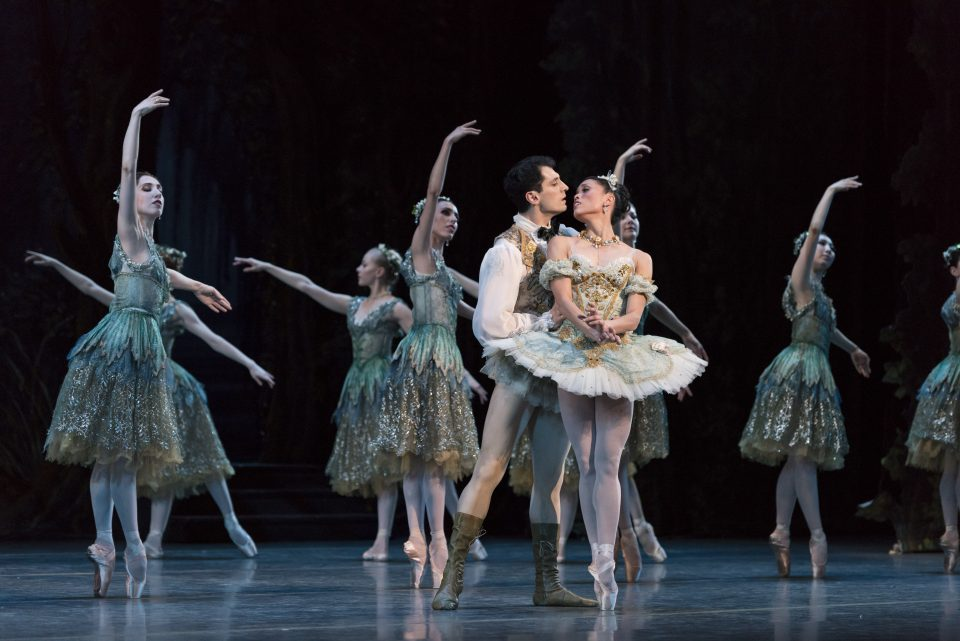 Lia Cirio, Lasha Khozashvili, and Boston Ballet in Marius Petipa's The Sleeping Beauty; photo by Liza Voll Photography, courtesy Boston Ballet