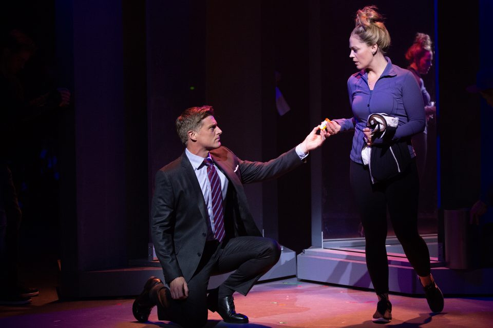 Sean Allan Krill and Elizabeth Stanley as Steve and Mary Jane Healy in American Repertory Theater's Jagged Little Pill. Photo: Evgenia Eliseeva.