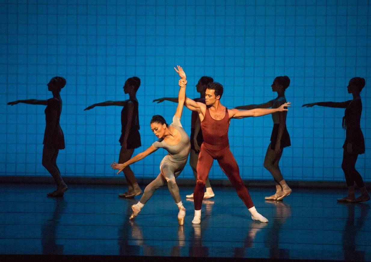 Lia Cirio and Paulo Arrais in Jerome Robbin's Glass Pieces; photo by Rosalie O'Connor; courtesy of Boston Ballet
