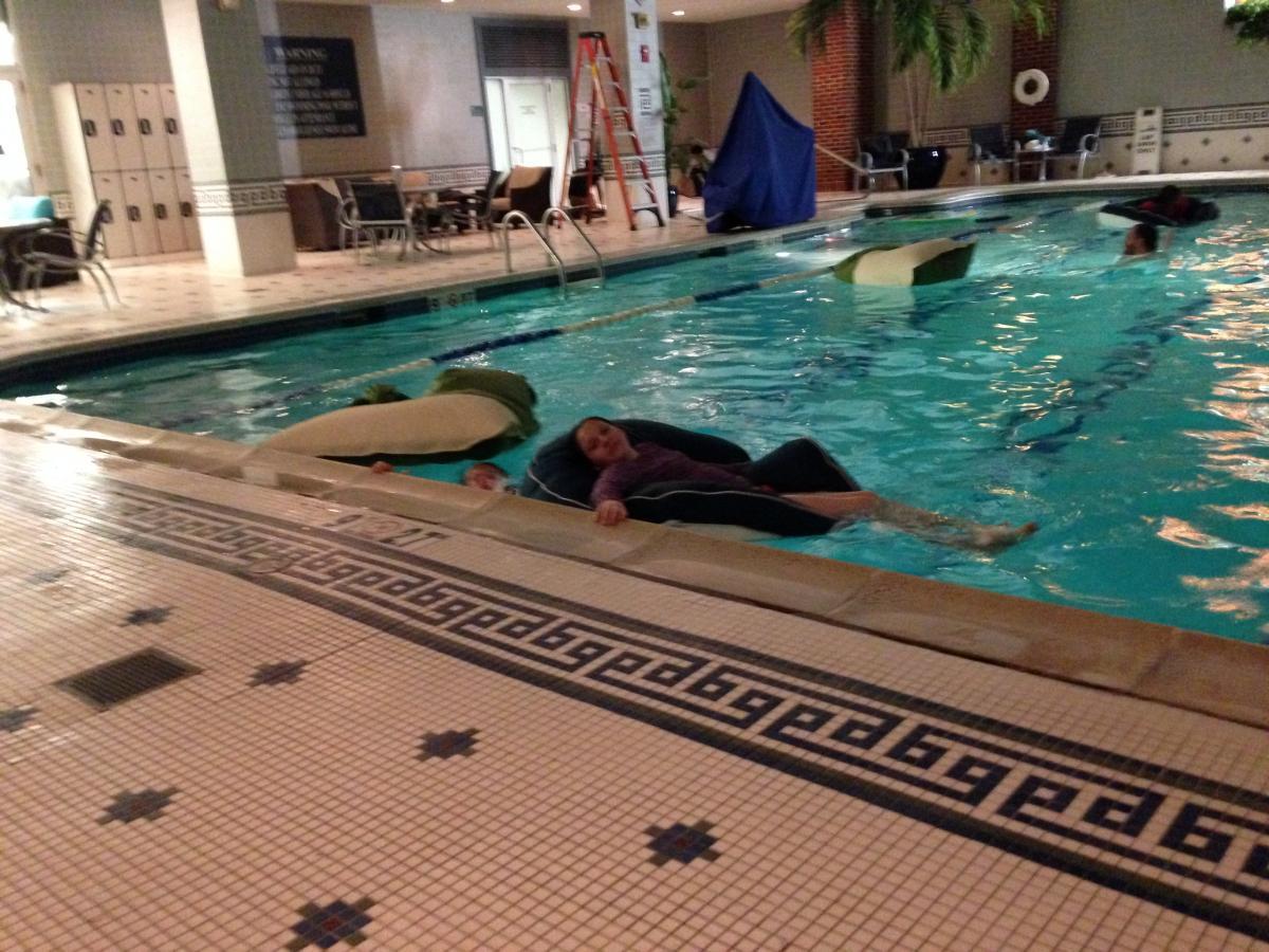 Lounging in the pool at Royal Sonesta Boston