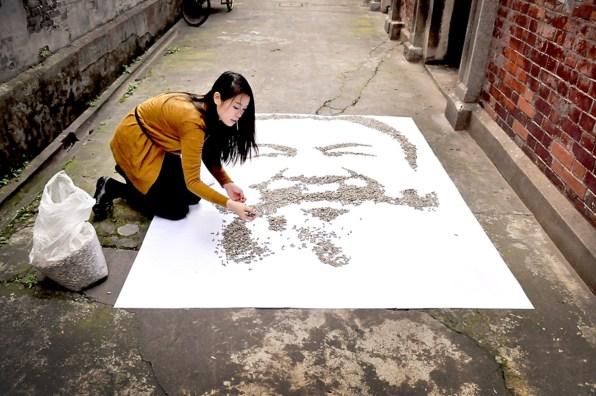 Umetnik Ai Weiwei iz sončničnih semen.