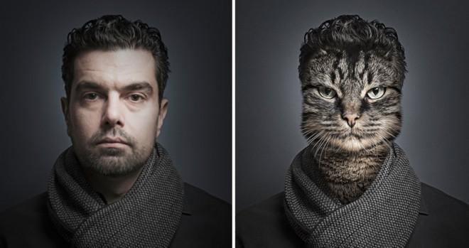 Mačka v lastnikovi preobleki