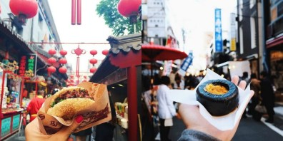 Burger iz oslovega mesa v Pekingu (levo) in morski ježek v Tokiu (desno).