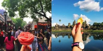 Jagodni sladoled v Pekingu (levo) in čips iz kruhovca v Angkorju (desno).