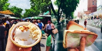 Tajski kokosov sladoled v Bangkoku (levo) in Durian sladoledni kruh v Singapurju (desno).