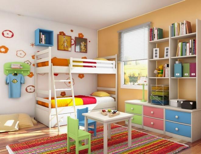 Otroška soba v oranžni, modri, rdeči in zeleni
