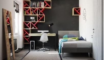 Otroška soba v črno-rdeči kombinaciji
