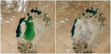 Aralsko jezero, centralna Azija. Avgust 2000 - avgust 2014