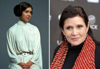 Carrie Fisher kot princesa Leia, 1977 in 2015