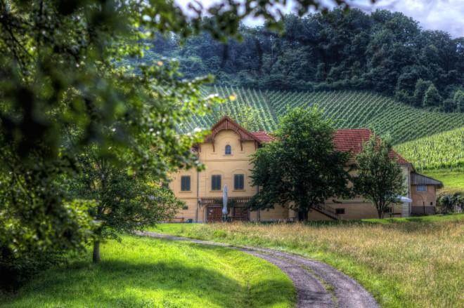 Glambing naselje v objemu vinogradov.