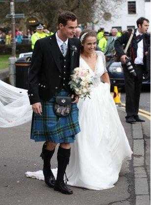 Andy Murray v kiltu na poroki s Kim Sears leta 2015