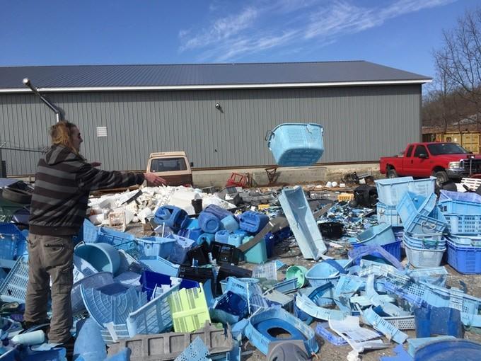 Postopek razvrščanja plastike.