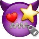 Sem vijoličen vrag s srcem in zvezdo namesto oči in usti na zadrgo.