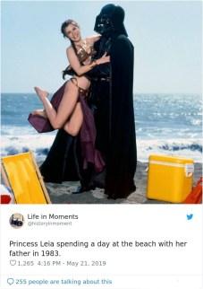 Princesa Leia na plaži s svojim očetom, 1983.