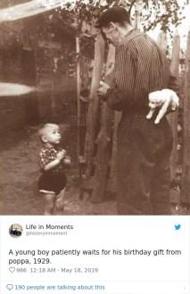 Fantek potrpežljivo čaka na svoje rojstnodnevno darilo, 1929.
