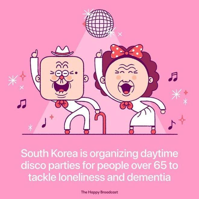 V Južni Koreji čez dan organizirajo disko zabave, da bi starostnikom pomagali premagati samoto in demenco.