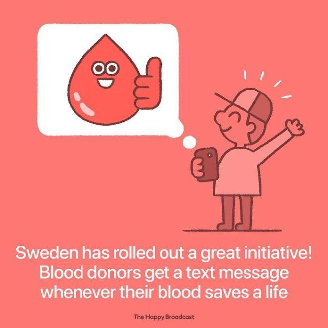 Na Švedskem krvodajalce obvestijo vsakič, ko z njihovo krvjo nekomu rešijo življenje.
