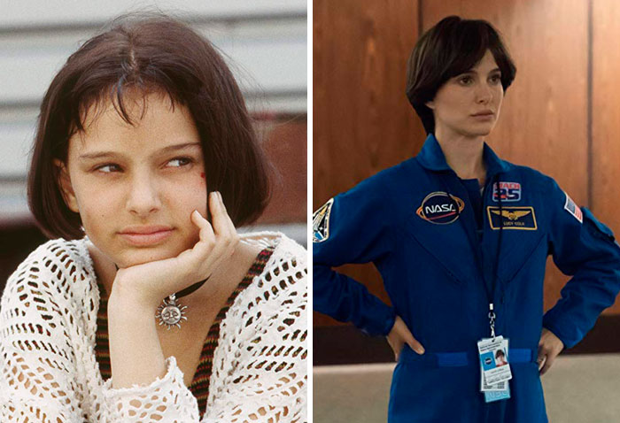 Natalie Portman v filmu Profesionalec (1994) in v Lucy na nebu (2019).