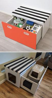 Predal za igračke in klop Fritidi predelana v mačji WC in posteljico Foto: Boredpanda