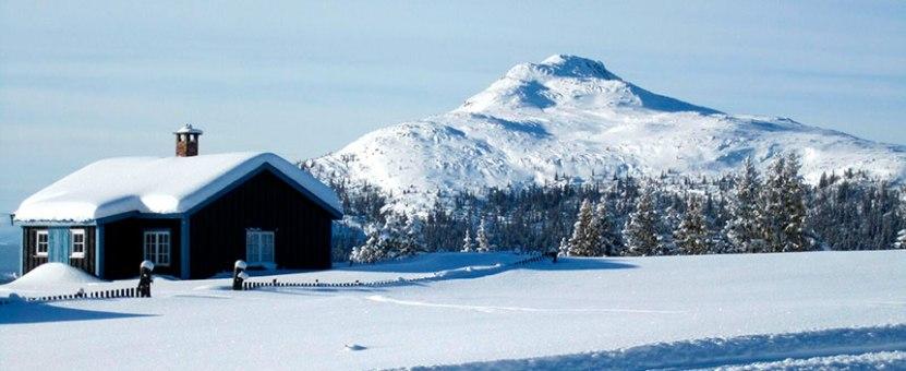 snødekt hytte og fjell