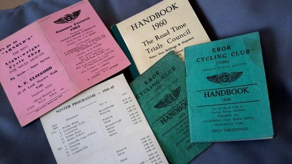 Ebor Cycling Club handbooks (ECC/5/6) and runs cards (ECC/5/8).