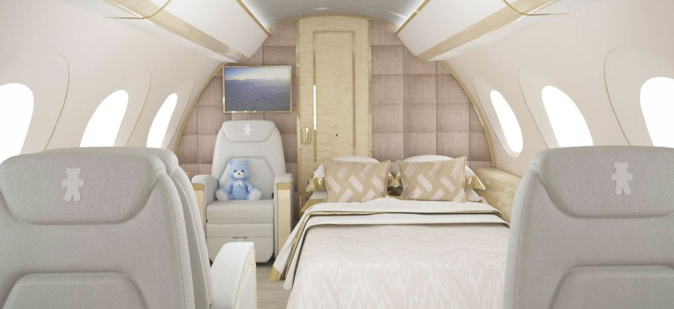 The flying bedroom for a family.
