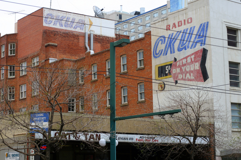 """""""Radio CKUA sign."""" Photo by Flickr user Simon Law © May 19, 2007 Creative Commons License - https://flic.kr/p/LZmXF"""