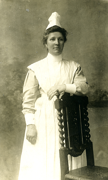 Nurse at Boyle St. Hospital - later Mrs. Briuker, Millet, c.1906. Photo courtesy of the City of Edmonton Archives EA-10-1595.