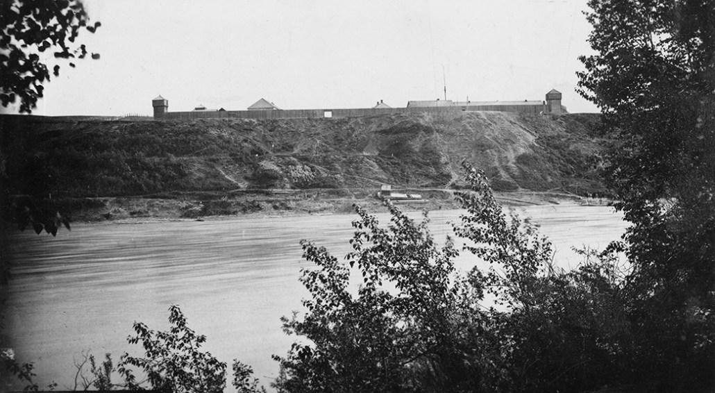 Fort Edmonton c. 1880. Image courtesy of the City of Edmonton Archives.