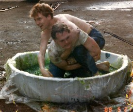 Jello wrestling, it was mud wrestling at first but it was too much work. During Hansel and Gretchen's step-down, it was cream corn wrestling. Ewww.
