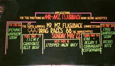 1988 Mr & Mz Flashback 12 Deejay and Kim Burly step down Sign Design by Darrin Hagen