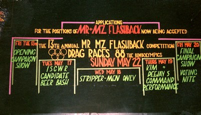 1988 Mr & Mz Flashback 12 Deejay and Kim Burly step down Sign Design by Darrin Hagen