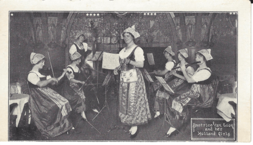 Postcard for Beatrice Van Loon and her Holland Girls Orchestra. Image courtesy of Peggy Donnelly.