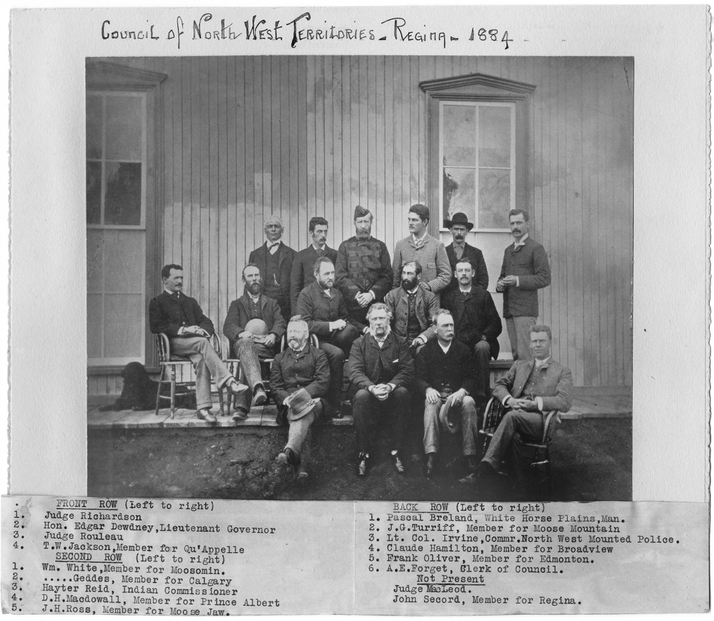 Frank Oliver with the Council of Northwest Territories circa 1884. Image courtesy of the Provincial Archives of Alberta PR2007.0279.0001.