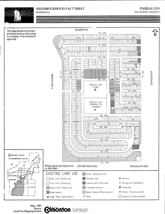 Parkallen Neighbourhood Plan, 1987. City of Edmonton Archives.