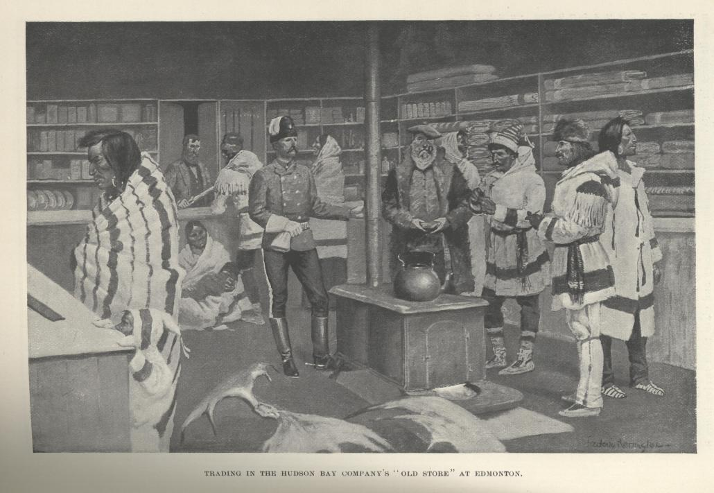 """Trading in the Hudson Bay Company's 'Old Store' in Edmonton"""" 1895. Frederic Remington (Based on original sketch by A.H. Hemming). Image courtesy of Harper's Magazine originally published December 1895."""