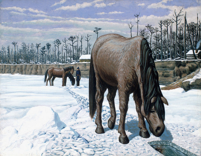"""A horse drinking at a hole in the ice/Un cheval s'abreuvant à même un trou dans la glace"". Original art by William Hind c. 1863. William George Richardson Hind collection. Library and Archives Canada, C-013972. Creative Commons License - https://flic.kr/p/pe7Ari"