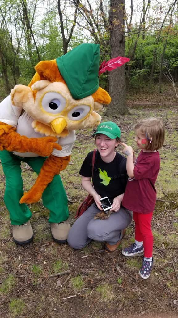 Woodsy Owl, Carrie Seltzer and child at Park Rx Day