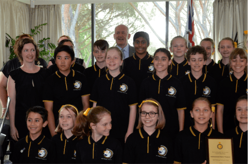 Sir Peter Cosgrove with the ACT Primary Concert Choir.
