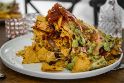 The vegetable nacho stack at Bonkers. Photo Maddie McGuigan