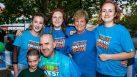 World's Greatest Shave team Kiera Mullan, Zoe Morrison, Belinda Barnier and Clare Taylor with Elliot and Shaun de Plater