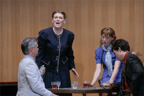 "Samuel Barber's short opera, ""A Hand of Bridge""... An evening of card playing by two unhappily married couples, the opera shows the dark thoughts of the people at the table.Photo by Peter Hislop"