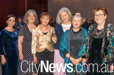 Current principal Loretta Wholley, left, with past principals Ann Cleary, Catherine Rey, Frances Menz, Julie Dempster and Anne Cummins