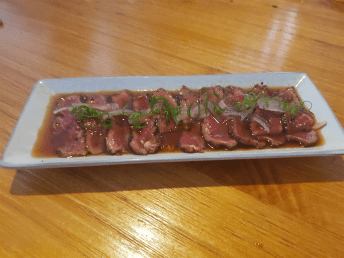 Beef Tataki... rare eye fillet, which was dipped in ponzu sauce. Photo: Wendy Johnson
