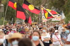 Protestors march to Parliament House. Photo: Mike Welsh
