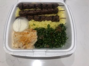 Kafta… tender minced beef and lamb carefully shaped and carefully skewered. Photo: Wendy Johnson