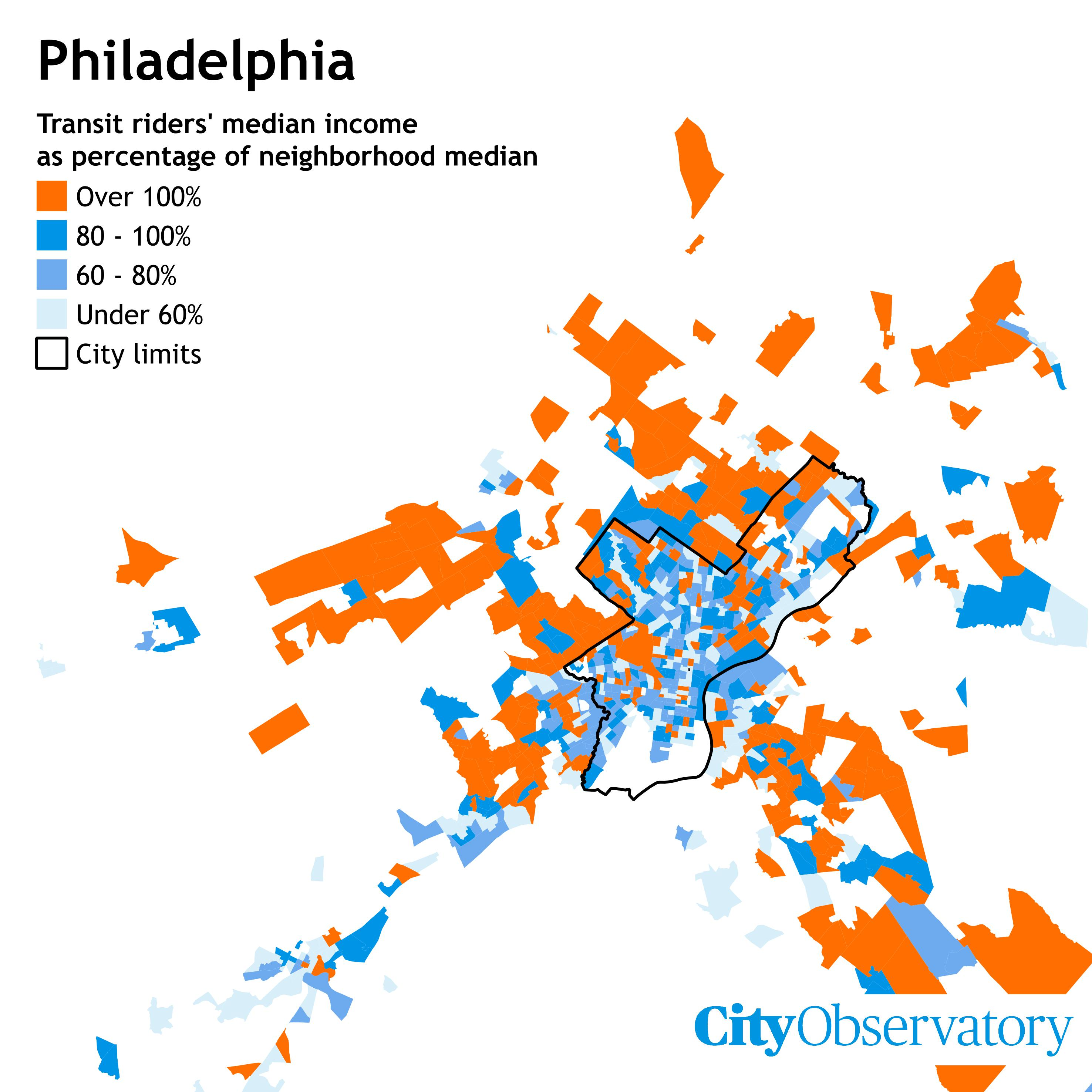 The Suburbs Where The Rich Ride Transit City Observatory - Map of philadelphia area and suburbs