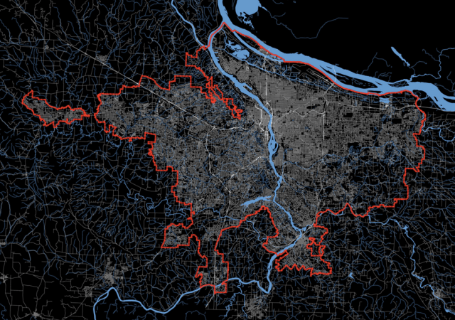 The anti-sprawl effect of the urban growth boundary is clear in this map. Credit: Free Association Design