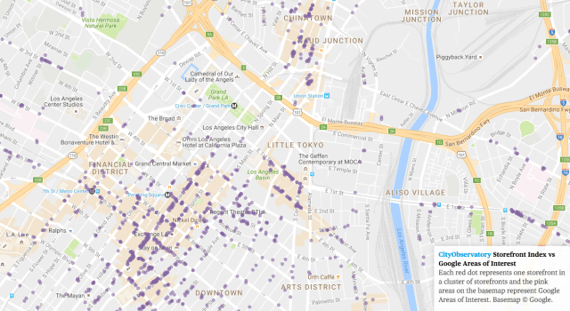 City Observatory Storefronts compared to Google's Areas of Interest