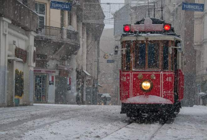 Istanbul facts - Istiklal Avenue under snow